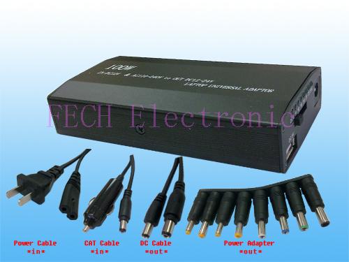 100W AC/DC laptop adaptor 12V-24V w/USB   aluminium metal housing