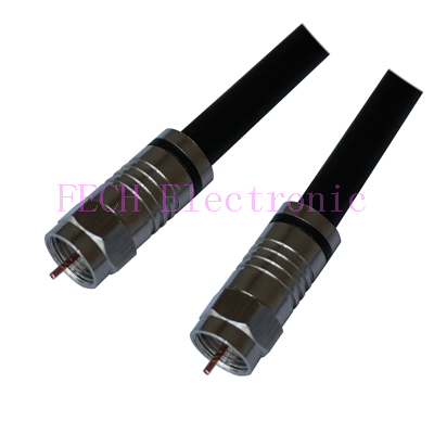 High Quality  F  Connector Plug to Plug  RG6 Quad-Shield Coaxial Cable