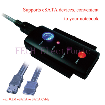 USB 2.0 TO IDE & SATA  ADAPTER , w/0.8M USB 2.0 transfer cable , w/power, with One -touch Backup