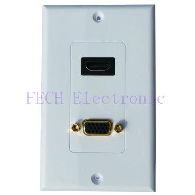 HDMI & VGA Female/Female 1 Port Wall Plate, Gold Plated