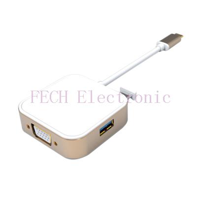 USB TYPE C TO VGA+USB3.0*2+TYPE C